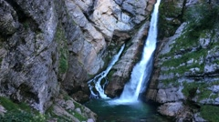 Waterfall on Savica river, Lake Bohinj Stock Footage
