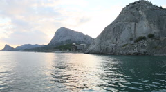 Calm evening on the sea shore in Crimea Stock Footage