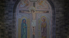 The image of Christ in the cross in the altar in Ireland Stock Footage