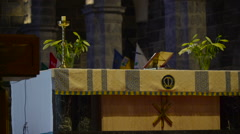 The table on the altar in the church in Ireland Stock Footage