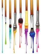 Artist Brushes with Paint Stock Illustration