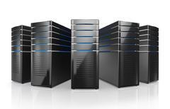 3D illustration of network workstation servers. Stock Illustration