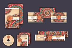 Corporate identity vector templates set with mandala pattern ethnic elements Stock Illustration
