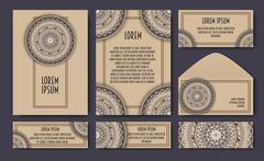 Set of invitation templates with colorful tribal mandalas. Ethnic wedding and Stock Illustration