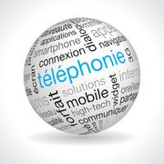 French telephony theme sphere Stock Illustration