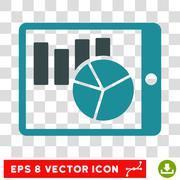 Charts On PDA Vector Icon Stock Illustration