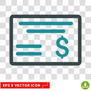 Dollar Cheque Vector Icon Stock Illustration