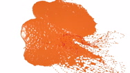 Orange drops falling on white screen slow motion. juice Stock Footage
