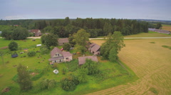 The aerial view of the big farm  in Ireland Stock Footage