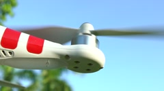 Turn off the Drone Helicopter For Takeoff in Park with beautiful sun day -Dan Stock Footage