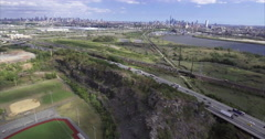 Aerial shot of NJ With a Baseball Field & Track Stock Footage