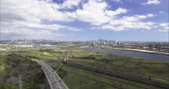 Aerial shot of NJ With a Baseball Field Stock Footage