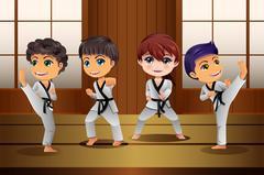 Kids Practicing Martial Arts in the Dojo Stock Illustration