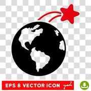 Rising Satellite On Earth Eps Vector Icon Stock Illustration