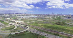 Aerial of NJ with Parkway and Ponds Stock Footage