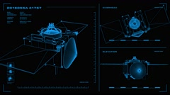 Looping, orthographic view of rotating wireframe model of OSIRIS-REx spacecraft Stock Footage