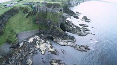 Dunluce castle in Ireland from above Stock Footage