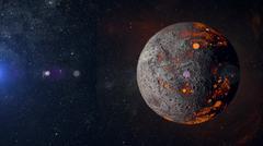 Alien hot planet on nebula background 3d rendering. Stock Illustration