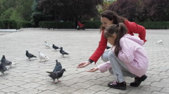 Feeding pigeons from hands Stock Footage