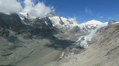 Peak of Grossglockner mountain and its glacier. Stock Footage