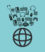 Earth globe diagram global communication and data center icons Stock Illustration