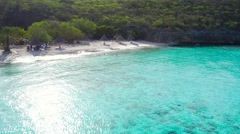 Aerial fly by and pan of Cas Abao beach Curacao Stock Footage