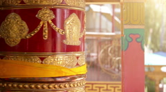 Prayer wheel rotating Thikse Monastery, Leh,Ladakh, India.Traditionally, the man Stock Footage