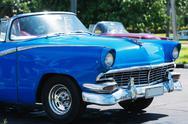 Blue American Cabriolet Classic car on street in Havana Cuba Stock Photos