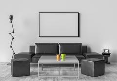 Living room, sofa, two stool and table. On the wall of an empty picture frame Stock Illustration