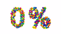 Zero percent symbol in colorful balls on white Stock Footage