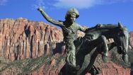 Pan, Bronze statue of cowboy on rearing horse, sept 2016 Stock Footage
