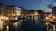 Venice Chanel at Night, Italy. Stock Footage