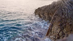 Rocks washed by sea Stock Footage