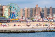 The beach and the amusement park at Coney Island in New York City Stock Photos