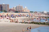 The beach at Coney Island in New York City Stock Photos