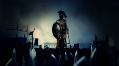 Epic Spartan Soldier After a Heroic Battle with His Massive Army Stock Footage