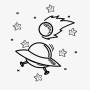 Space stars doodle drawing image Stock Illustration