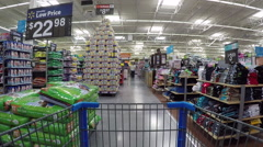 POV shopping cart in grocery store walking HD Stock Footage