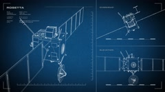 Looping, animated orthographic engineering blueprint of the Rosetta spacecraft. Stock Footage