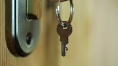 Door lock with key Stock Footage