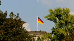 German flag on Reichstag in Berlin, Germany Stock Footage