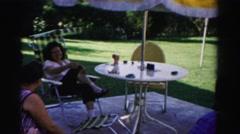 1957: people on the patio CATSKILL, NEW YORK Stock Footage