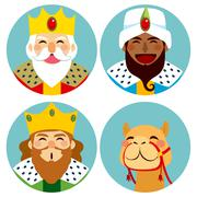 Three Wise Men Avatar Expression Stock Illustration