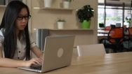 Worker enjoy works in modern room Stock Footage