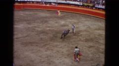 1962: bull man teases wild bull, dangerous move MEXICO Stock Footage
