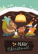 Cute bear with rabbit and fox celebrating Christmas in his den Stock Illustration