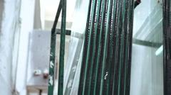 Glass for glazed windows. Warehouse for glass. 4k Stock Footage