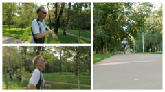 Collage. The man likes to run in the park, for a healthy lifestyle Stock Footage