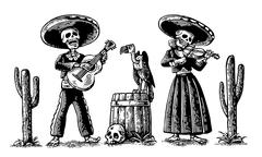 Day of the Dead, Dia de los Muertos. The skeleton in the Mexican national cos Stock Illustration