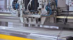 Adhesive PVC profile - plastic windows manufacture Stock Footage